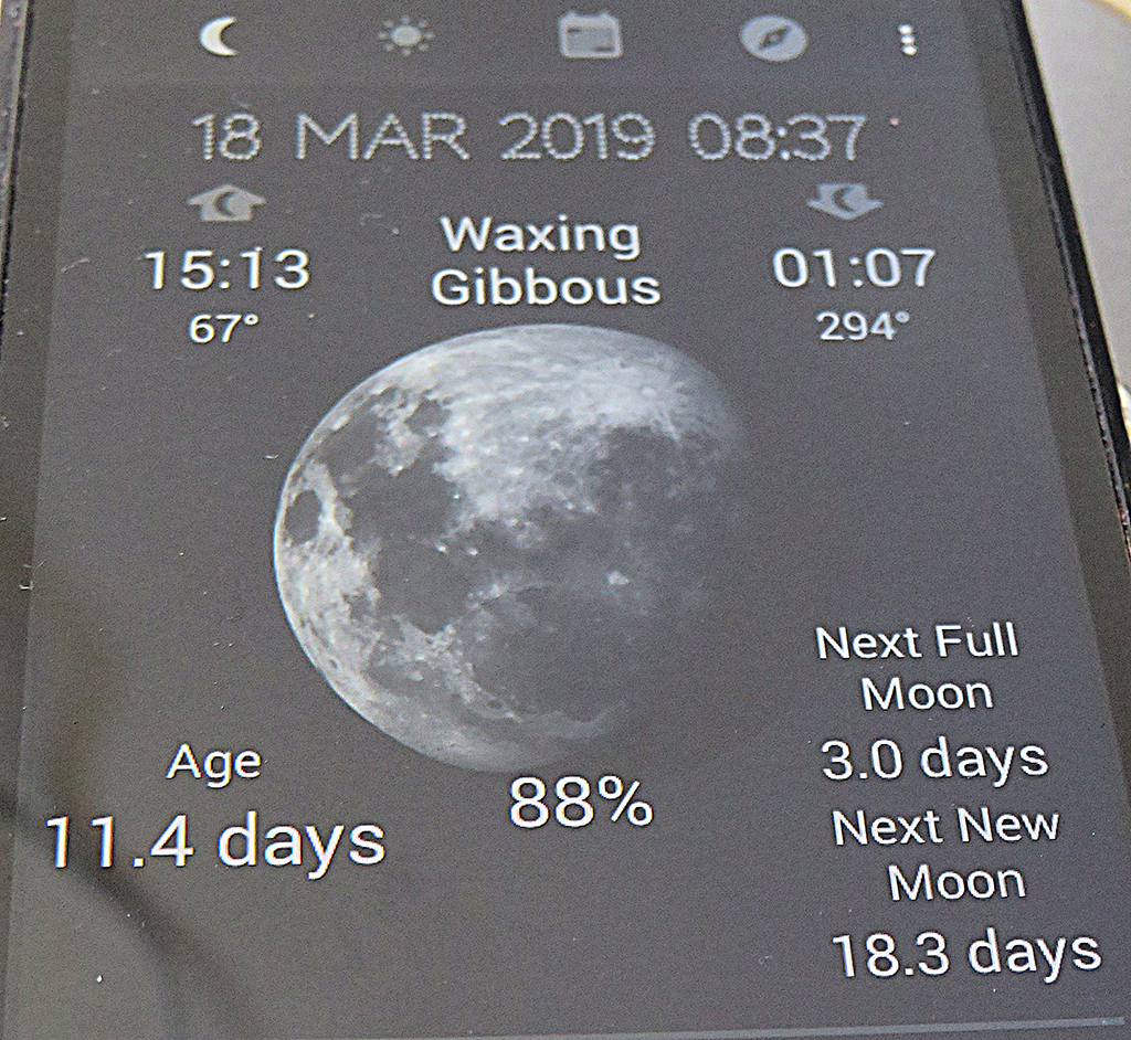Moon 18 March